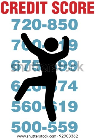 Consumer climbs up report scores to better personal credit card score - stock vector