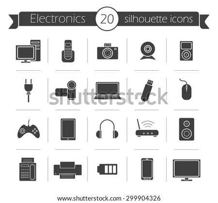 Consumer electronics black silhouette icons set. Digital devices shop vector pictograms isolated on white - stock vector