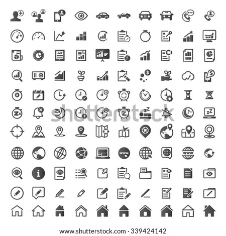 Contact and Business Icons. - stock vector