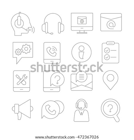 contact and call center icons, thin line