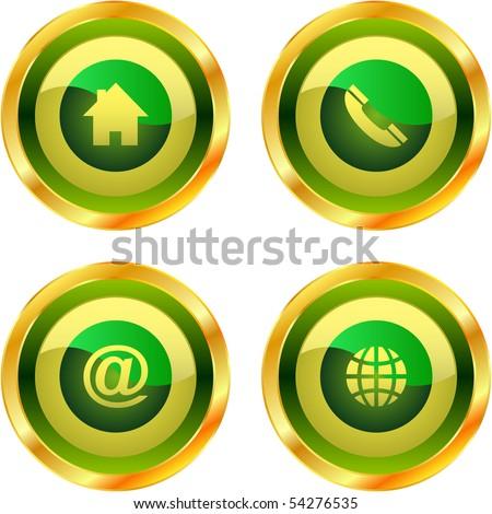 Contact button set for design. - stock vector
