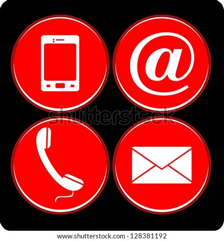 Contact buttons set - email, envelope, phone, mobile icons - stock vector