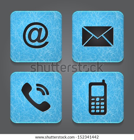 Contact buttons - set icons - email, envelope, phone, mobile. Vector - stock vector