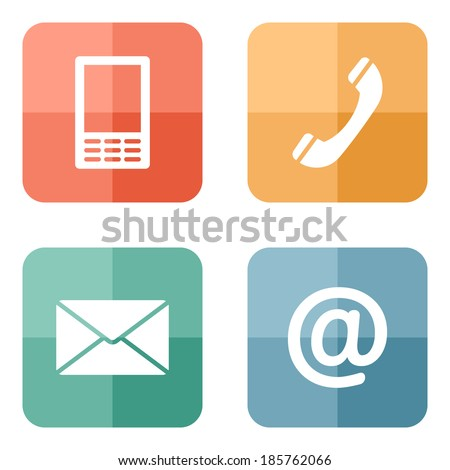 Contact buttons set on bright hipster texture - email, envelope, phone, mobile icons - stock vector