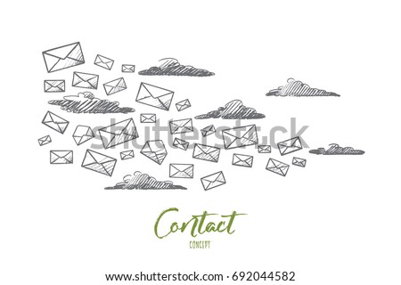 Contact Concept Hand Drawn Flying Letters Stock Vector 692044582