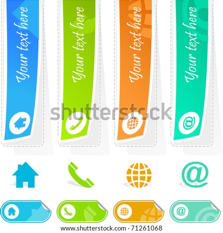 Contact element set for design - email, home, phone. Sticker set. - stock vector