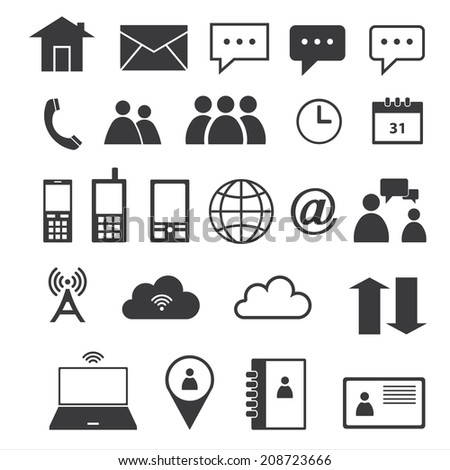 Contact icons - stock vector