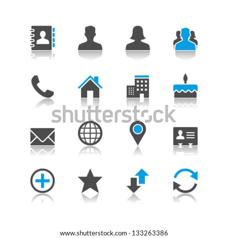 Contact icons reflection theme - stock vector