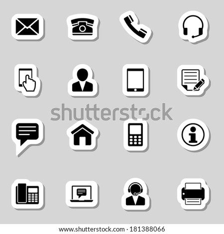 Contact  Icons Set as Labes - stock vector