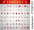 Contact Icons Set - Isolated On Gray Background - Vector Illustration, Graphic Design Editable For Your Design