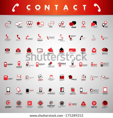 Contact Icons Set - Isolated On Gray Background - Vector Illustration, Graphic Design Editable For Your Design - stock vector