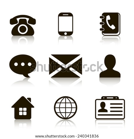 Contact Icons Set with reflection - stock vector