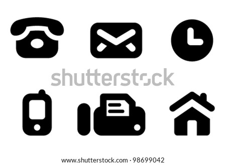 Contact information icon set: phone, mail, work time, mobile, fax and website. Aligned according to pixel grid. Specially for Web and small-sizes - stock vector