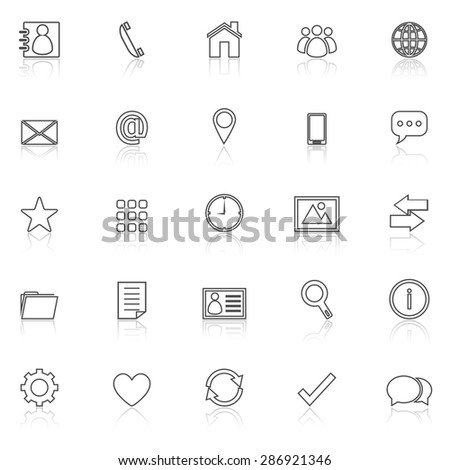 Contact line icons with reflect on white, stock vector - stock vector