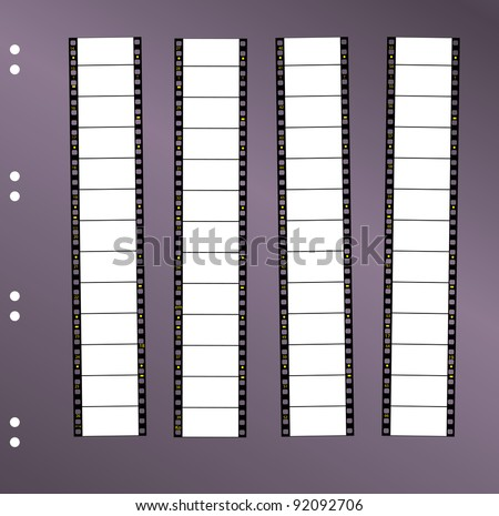 contact sheet 35 mm wide screen movie filmstrip, free space for pix, vector - stock vector