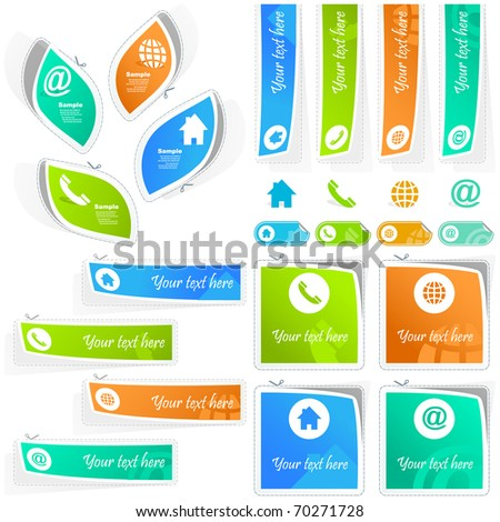 Contact sticker set. Web icon - email, blog, telephone, home, adress. Website template. Colour background for your advert text. - stock vector