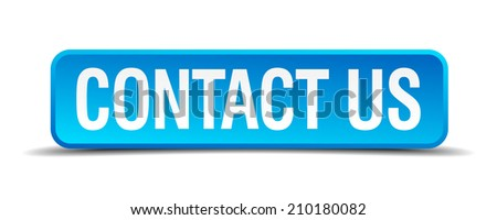 contact us blue 3d realistic square isolated button - stock vector
