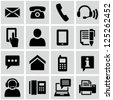 Contact us icons set - stock vector