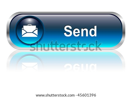 Contact us, mail icon, button, blue glossy with shadow - stock vector