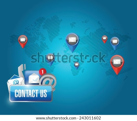 contact us media communication network illustration design over a blue background - stock vector