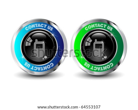 contact us, telephone button - vector - stock vector