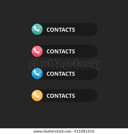 Contact us text button with icon - stock vector