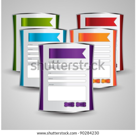 contact us web boxes - stock vector