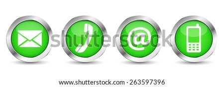 Contact us web buttons set with email, at, telephone and mobile icons on green silver badge vector EPS 10 illustration isolated on white background. - stock vector