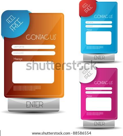contact us web interface - stock vector