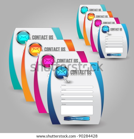 contact us web interface - stock vector