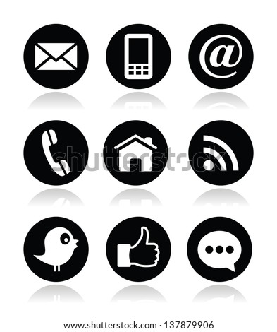 Contact, web, blog and social media round icons - stock vector