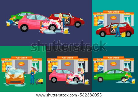 contactless car washing services bikini model stock vector 562386055 shutterstock. Black Bedroom Furniture Sets. Home Design Ideas