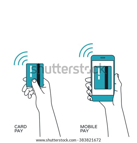 Contactless card payment and Mobile payment vector illustrations. - stock vector