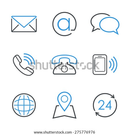 Contacts simple vector icon set - envelope, email, chat, telephone, mobile phone, map, globe and business hours