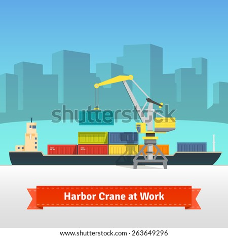 Container cargo ship loaded by harbor crane in the town port dock. Naval transportation concept. Vector flat style illustration. - stock vector
