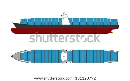 Container Ship - stock vector
