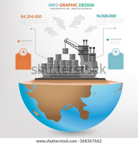 Container ship concept design,info graphic,clean vector - stock vector