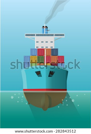 Container ship in the sea. Front view. Flat style vector Illustration. - stock vector