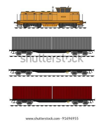 Container train vector - stock vector