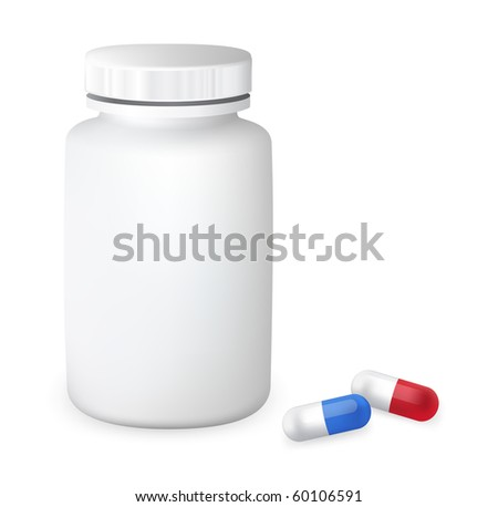 Container with pills. Vector illustration. - stock vector