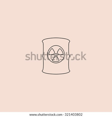 Container with radioactive waste. Outline vector icon. Simple flat pictogram on pink background - stock vector
