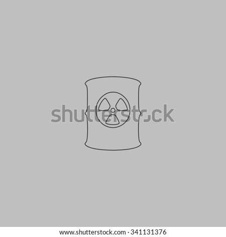 Container with radioactive waste. Outlne vector icon on grey background - stock vector