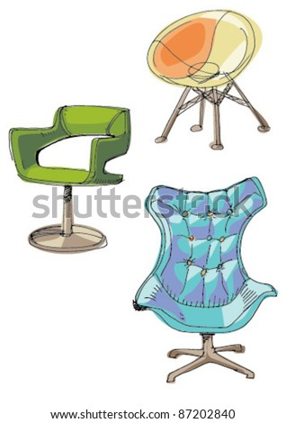 contemporary armchairs - stock vector