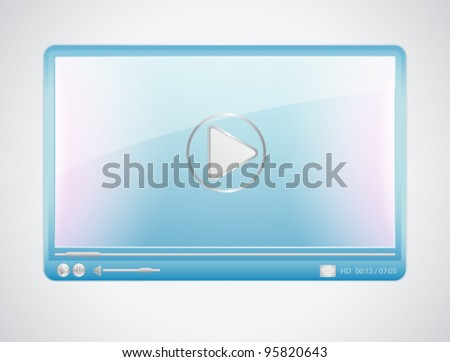 Contemporary blue Video player with silver elements. Vector illustration on white background