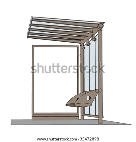contemporary bus stop billboard blank - stock vector