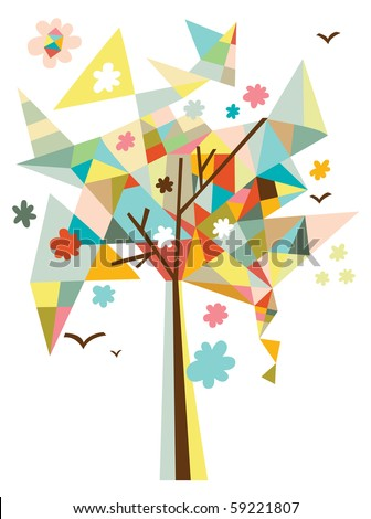 Contemporary design with geometric tree, flowers and birds. - stock vector