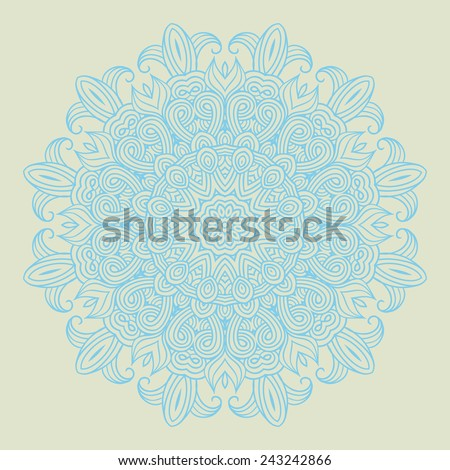 Contemporary doily round lace floral pattern card, circle, mandala, - stock vector