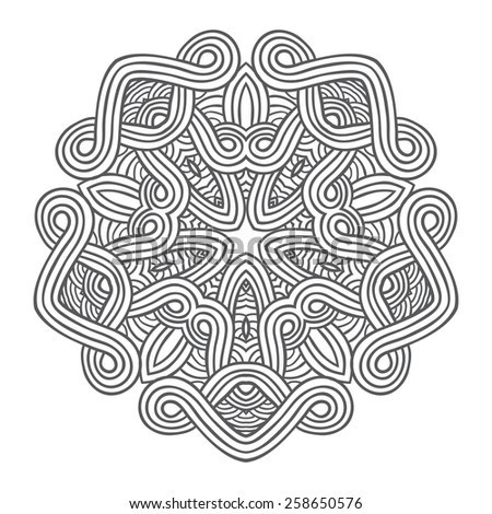 Contemporary doily round lace floral pattern card, circle, mandala, amulet - stock vector