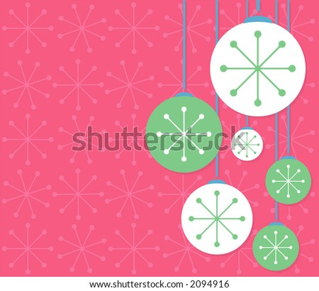 Contemporary holiday ornaments over a festive background. Fully editable vector illustration.