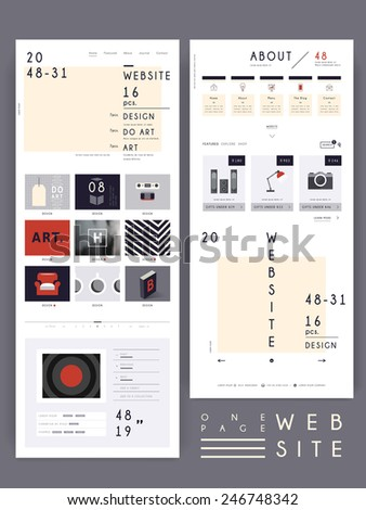 contemporary one page website design template in flat design  - stock vector